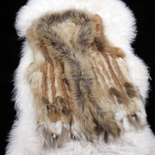 Casual Elegant Genuine Rabbit and Raccoon Fur Vest Hand Knit Sleeveless Vest Woman