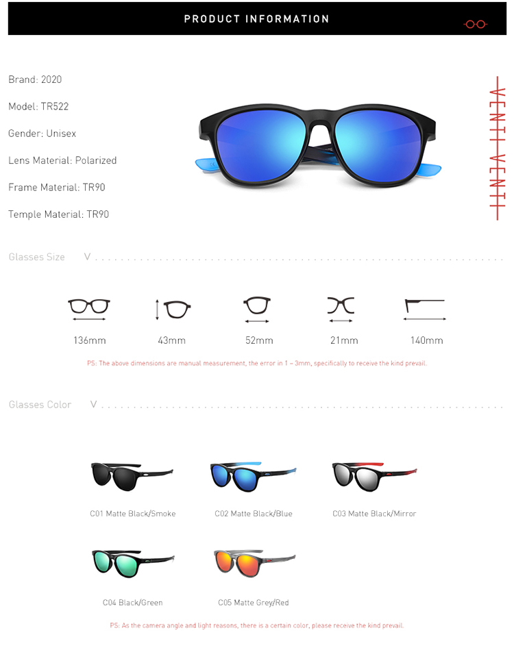 Design New Sunglasses Men Women Unisex TR90 Polarized Blue Vintage Eyewear Sun Glasses