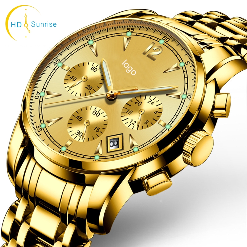 Men luxury wristwatches male brand watch quartz clocks waterproof stainless steel fashion business luminous calendar gold watch