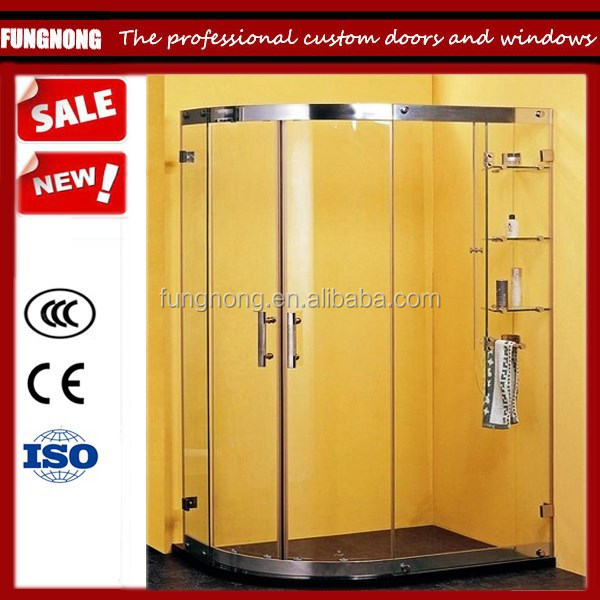 wholesale 304 stainless steel slivery toughened glass shower door for household