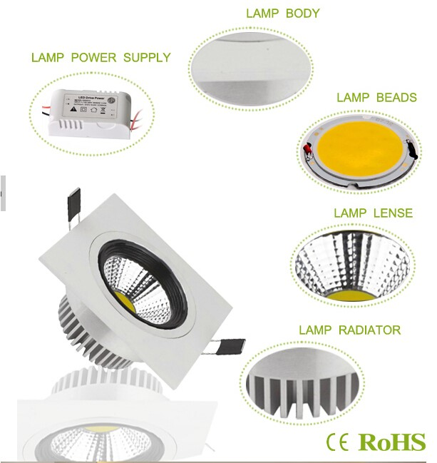Quality warranty Square COB led downlight 15W led downlight square