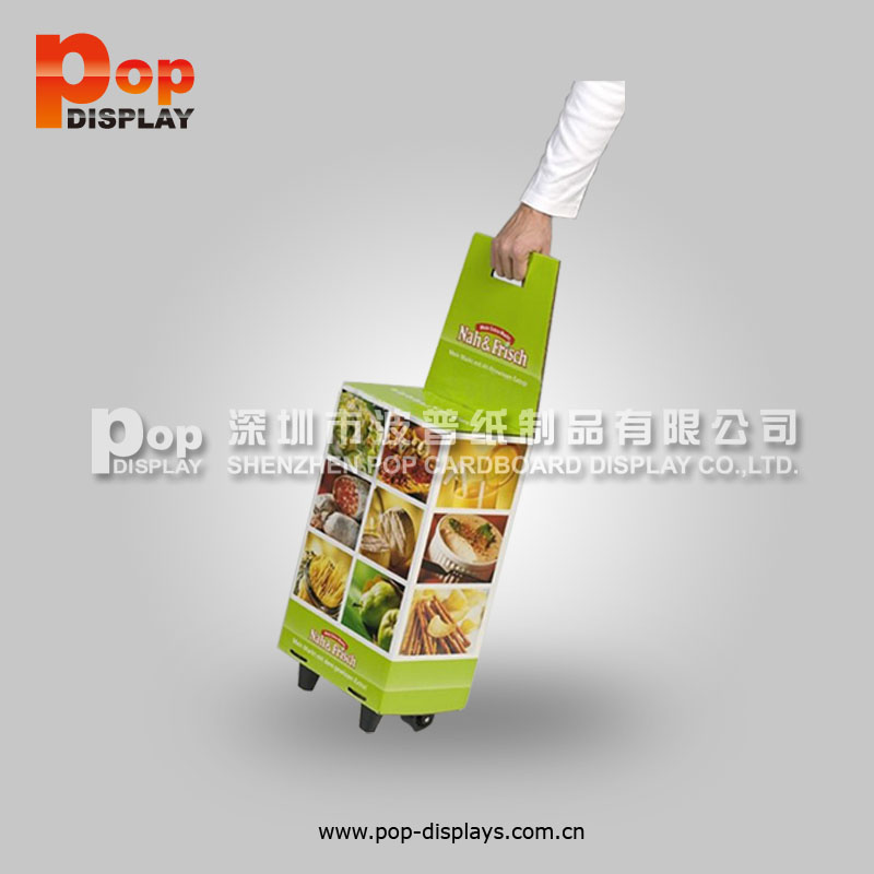 Factory Price Cardboard Trolley Display Promotion Trolley Stand