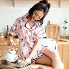 Wholesale Chinese short-sleeved two-piece silk women's pajamas