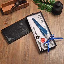 1 комплект перьев, металлическая авторучка для каллиграфического Quill, винтажный набор перьев, ручка для письма для школы и офиса, 5 наконечни...(Китай)