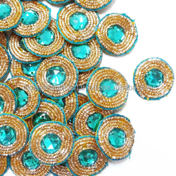 Round Shape Beaded Appliques Hand Crafted Blue Crafting Dress ...