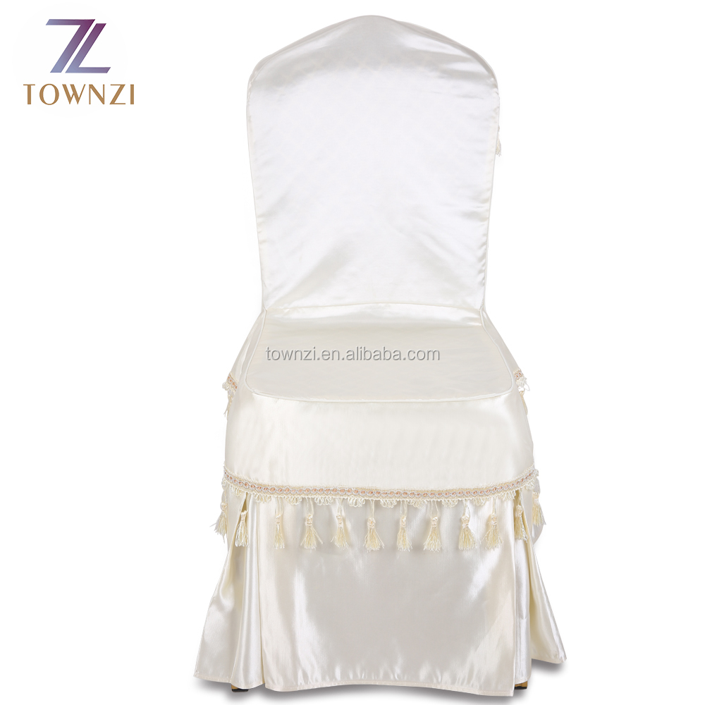 Good Quality White Satin Universal Polyester Banquet Damask Jacquard Plain Dyed Cheap Wholesale Wedding Chair Cover