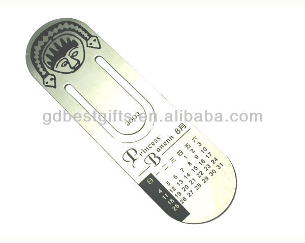 custom metal royal bookmarks promotional gift with calendar