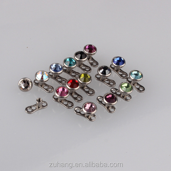 G23 Titanium Microdermal Piercing Surface Anchor Jewelry With Bezel Set Crystal Gem Cab Top Buy Microdermal Piercing Titanium Microdermal