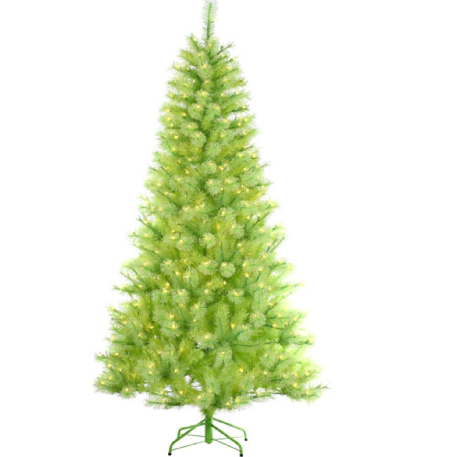7.5' Pre-Lit Lime Green Cashmere Pine Artificial Christmas Tree - Green Lights