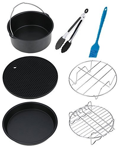 Air Fryer Accessories for Phillips Air Fryer and Gowise Air Fryer Deep Fryer Universal, Cake Barrel, Pizza Pan, Silicone Mat, Skewer Rack, Metal holder Fit all 3.7QT-5.3QT-5.8QT