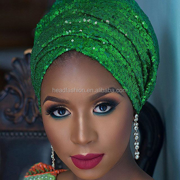 d4096574 Queency African New Fashion Gorgeous Distinctive Sequins Velvet Turban Style  Head Wrap Wholesale