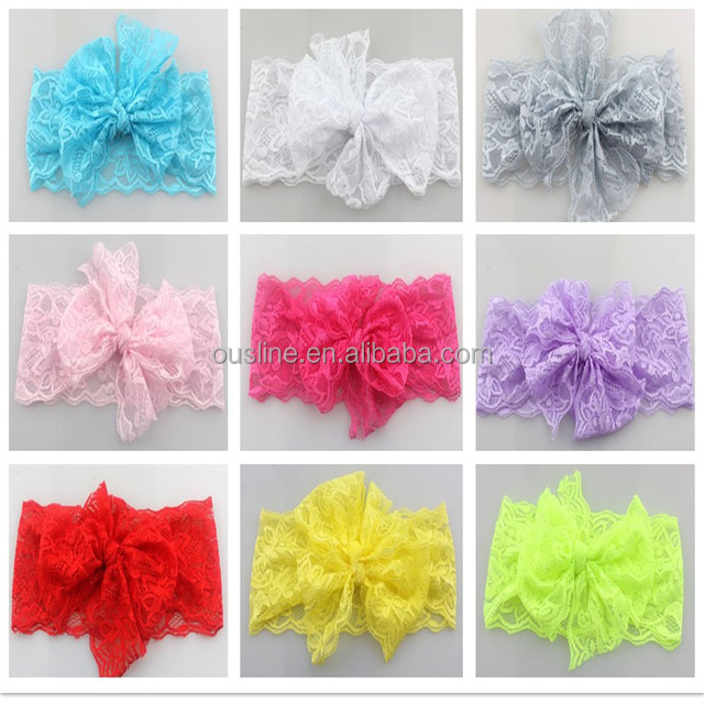 Flexible lace bow headband,lovely cute children baby elastic head bands