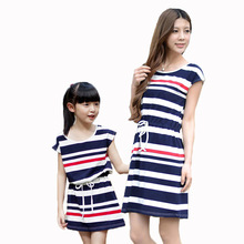Summer fashion girl striped dress family matching outfits casual short sleeve mom and baby kid mother