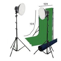 10ft x 15ft Chroma Key Green Muslin Backdrop With 2 Ultra Cool Lights