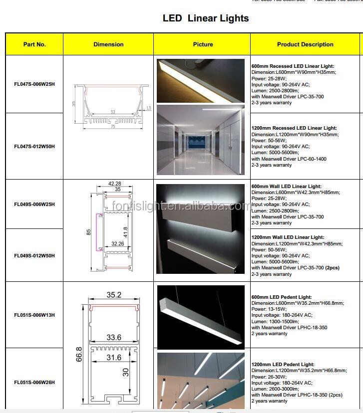 Top Grade Quality Level Linear Led Light Pendant Recessed Led Linear Light Fo