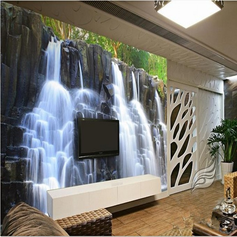 3d stereoscopic wallpaper chinese mountain water. Black Bedroom Furniture Sets. Home Design Ideas