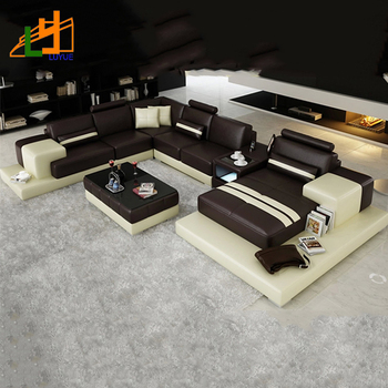 good quality modern design u shape furniture living room sofa set genuine leather sofa