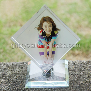 delicato di cristallo del laser 3d inciso photo frame
