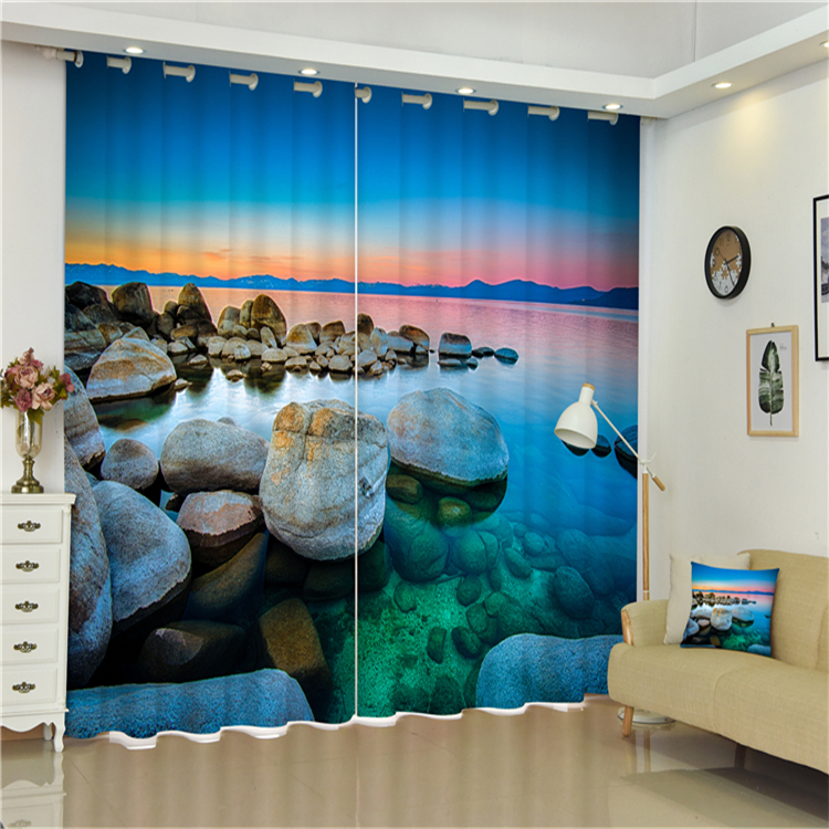 Luxury Romantic Royal Gradient Color Sheer 3D Printed Ready Made 100% Polyester Fabric Window Curtains For Home