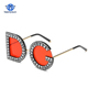 Diamond D and G Round Sunglasses 2018 New Women Square Luxury Brand Crystal Sun glasses Ladies Red Yellow Pink Bling Gemstone DG
