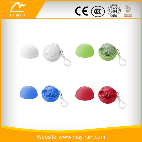 PE disposable rain poncho in ball with keychain