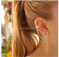 Personalized Ivy Leaf Ear Cuff Tassel Earring