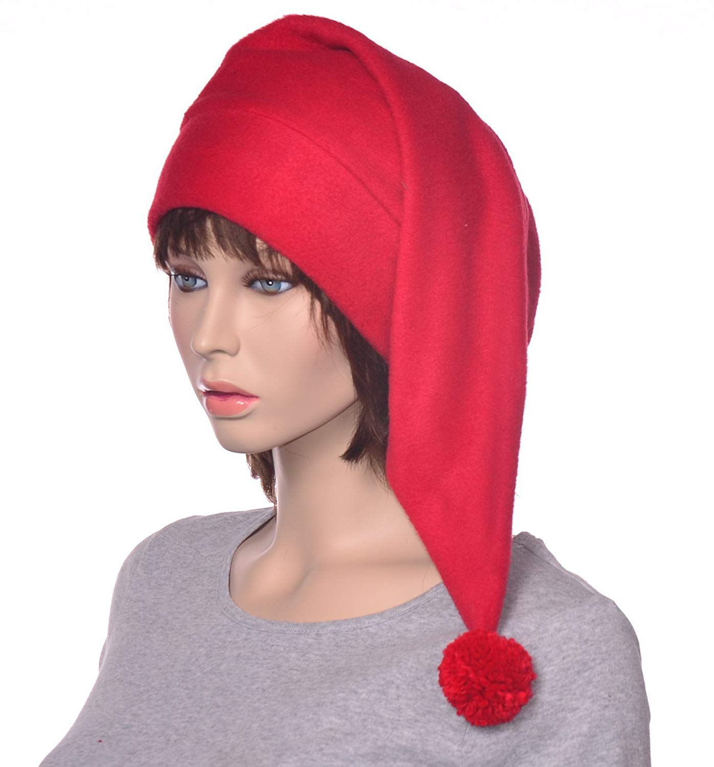 b420e26970262 Get Quotations · Long Red Pointed Stocking Cap with Pompom Made of Fleece
