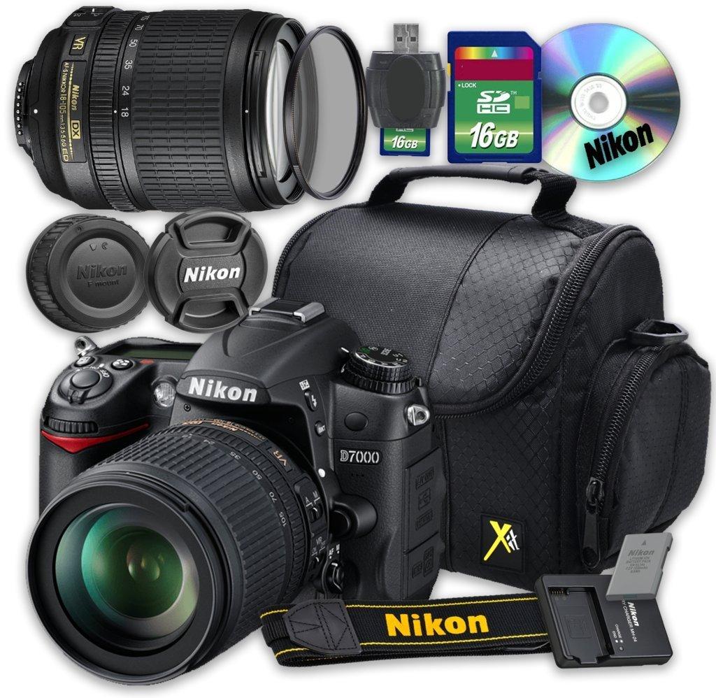 Nikon D7000 DSLR Camera with Nikon AF-S DX NIKKOR 18-105mm f/3.5-5.6G ED VR Lens + 16GB Memory SD Card + Accessory Kit - International Version (No Warranty)