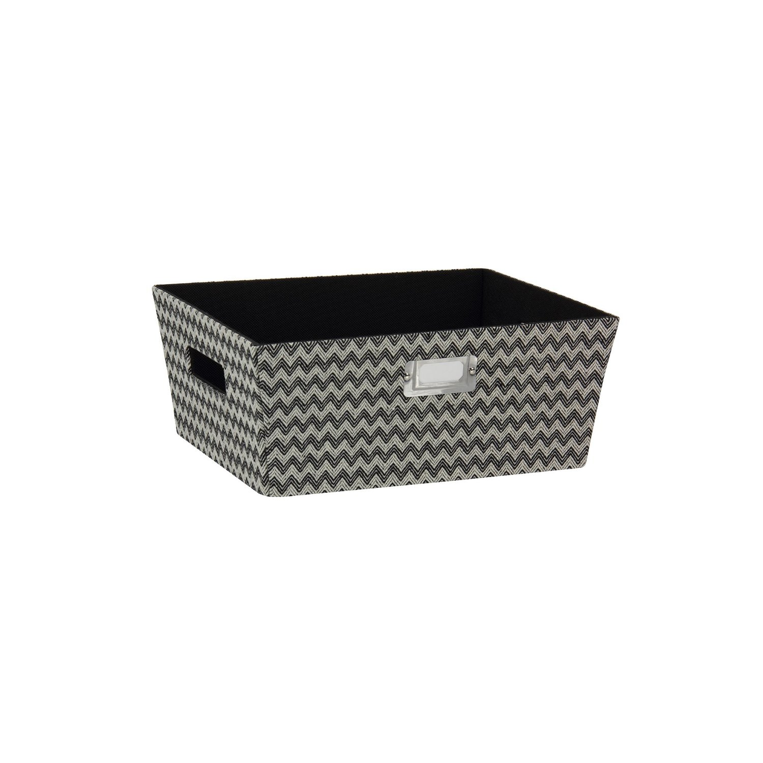 Household Essentials Hard-Sided Tapered Storage Bin, Small, Black Chevron