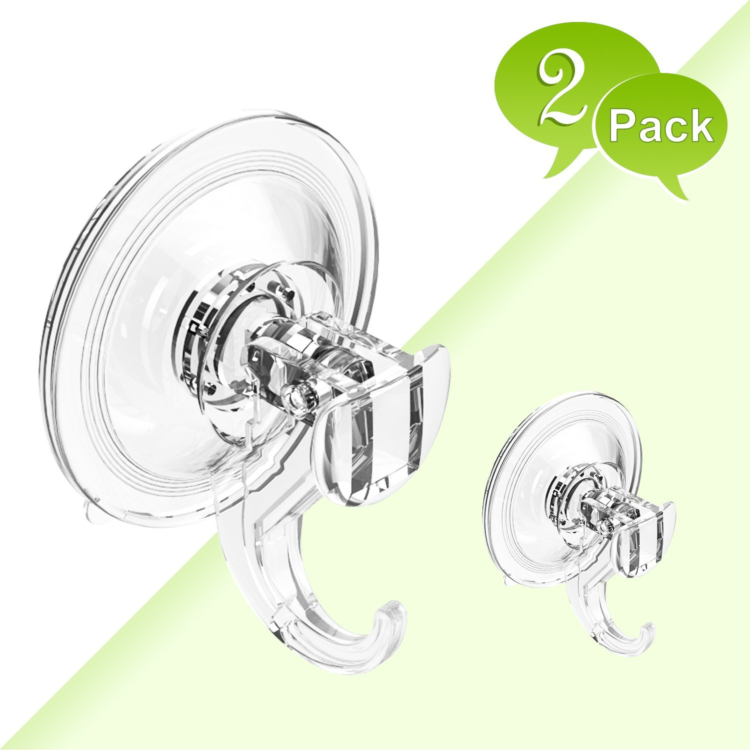 BUDGET & GOOD Shower Suction Hooks Removable Suction Cup Hooks for Shower Bathroom Kitchen Plastic Wreath Hanger Hooks for Towel Loofah Bathrobe Coat, 2 Pack Clear