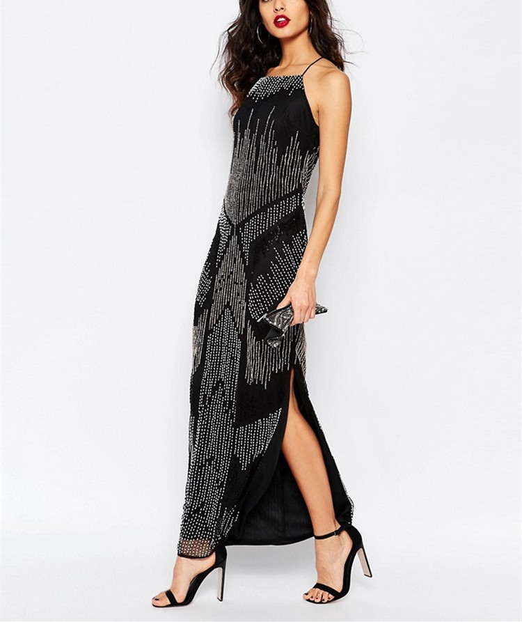 dc66fad280 New ladies vintage black embellished maxi long frog casual sequin dress