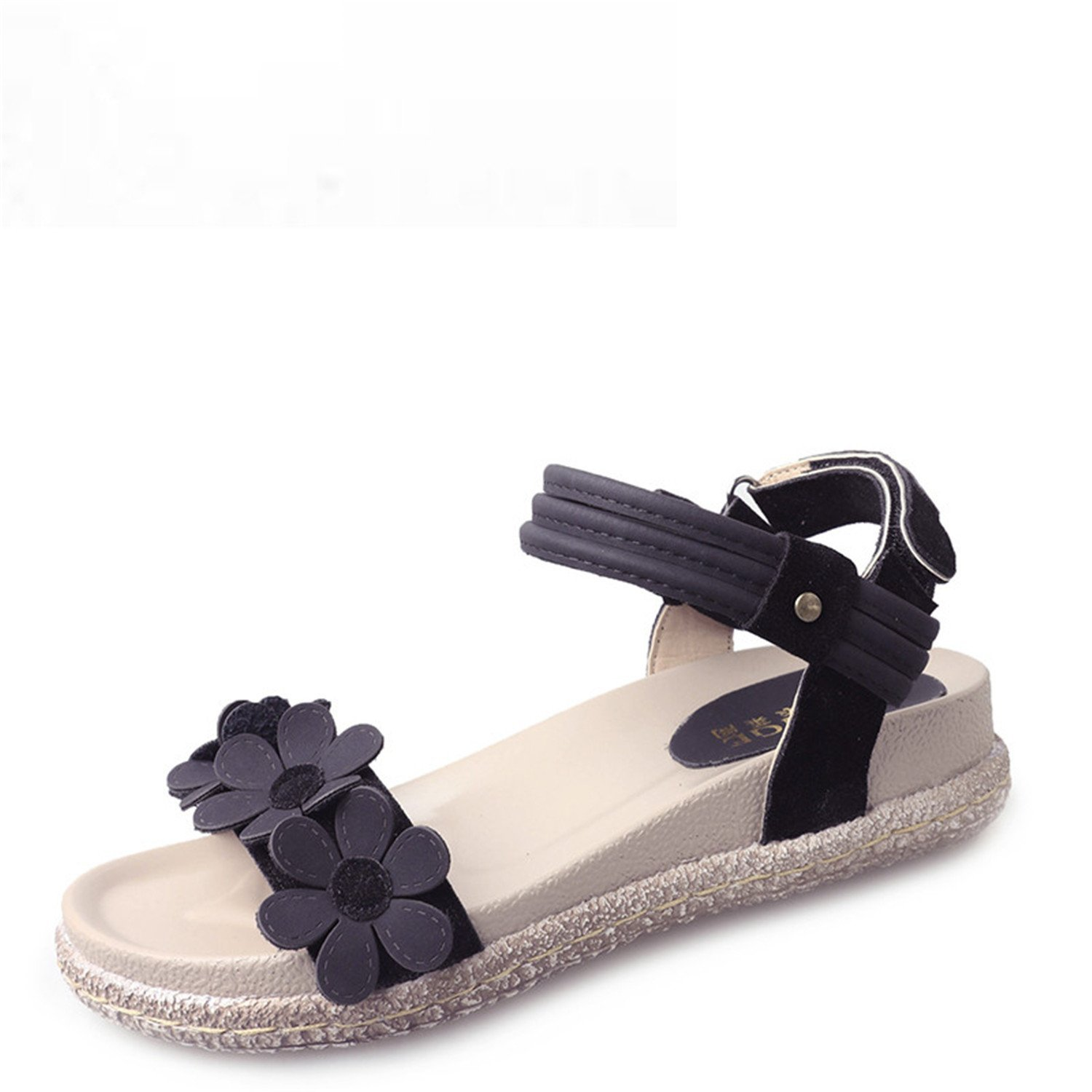 a14e1e40a4 Get Quotations · Feilongzaitianba Summer Ankle Wrap Sandals Woman Open Toe  Shoes Women Velcro Flower Women Sandals Flat Sandals