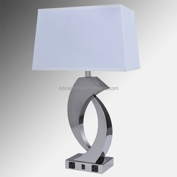 27 Polished Nickel Table Lamp With 3 Prong Grounded Cord And 10 Wall