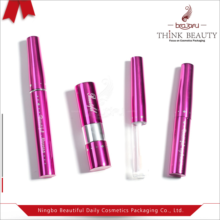 Rose red 6ml/5ml/5ml Fashion Aluminum&PET cosmetic sets with mascara/eyeliner/lip gloss/lipstick bottle/tubes/case/container