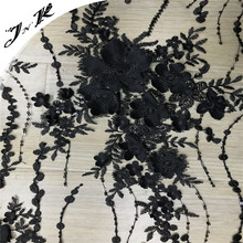 70633 Wholesale fabric 100% polyester mesh black flower embroidery sequin fabric