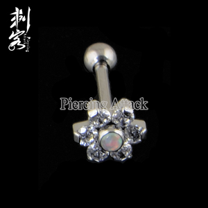 G23 Solid Titanium Prong Set Flower Tongue Barbells Ear Tragus Piercing