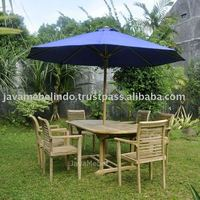 TEAK OUTDOOR FURNITURE OF STACKING SET OF 6 CHAIR, 1 OVAL EXTENDING TABLE, 1 UMBRELLA