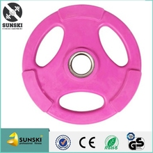 Three Holes Pink Rubber Barbell Weight Plates