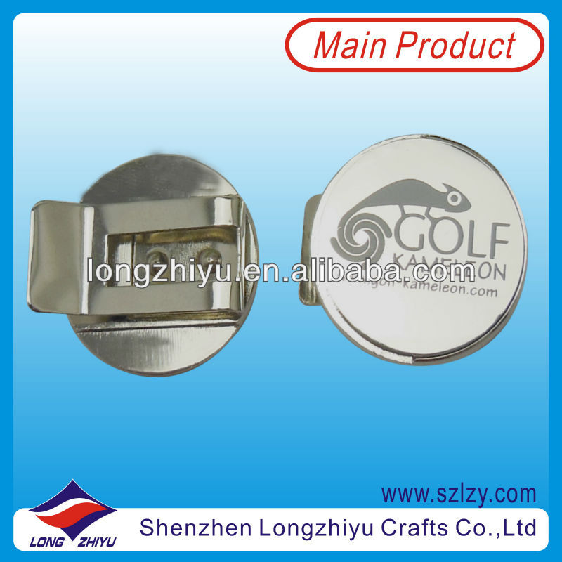 High Quality Blank Silver Magnet Golf Hat Clips With Ball Marker With Printing Logo