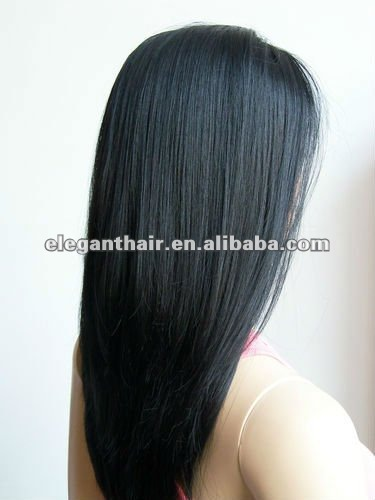 Black Synthetic Hair Lace Front Silky Straight Long Wig, Lacefront Wigs