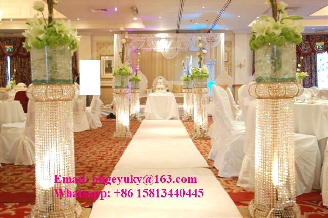 Lujo de la boda pilares columna de soporte de pasarela pasillo de cristal pil - Decoration pour pilier exterieur ...
