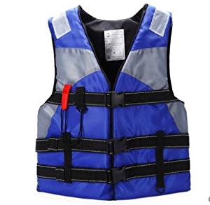 Bump-upscale adult swimming life jackets drift snorkeling buoyancy vest fishing clothing and whistles , blue