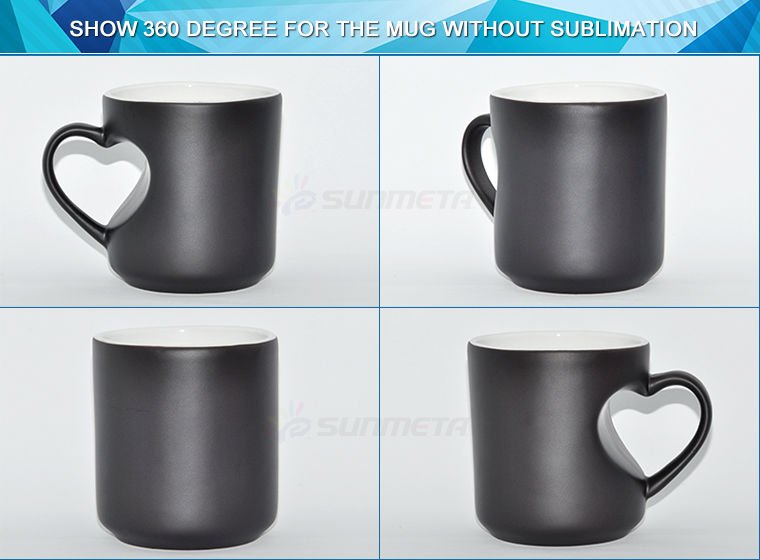 11oz Sublimation Magic Color Changing Mug Heart Shape Handle