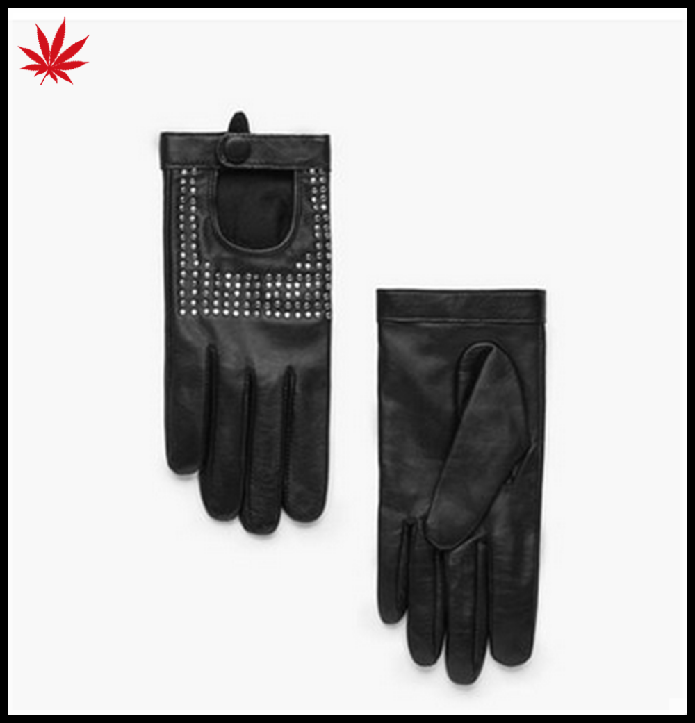 ladies short leather driver hand gloves with drill