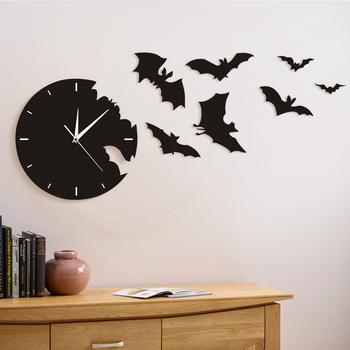 Contemporary Black 3D Wall Clock The Escape Clock Halloween Bat Silhouette 3D Wall Watch Clock Scary Bat Symbols Home Decor
