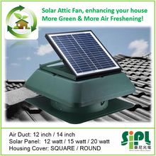 SUNNY FAN 20W solar panel sun energy powered air conditioning roof product 14 inch air exhaust attic fan