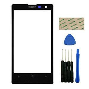 PhonePlus® Black Upper Front Outer Screen Glass Lens Replacement for Nokia Lumia 1020 with Adhesive Tools
