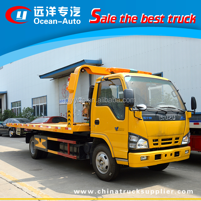 Japan brand chassis Isu zu one-driven-two flatbed wrecker truck