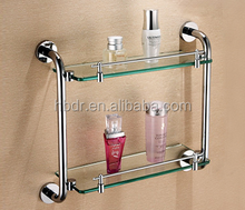 Stainless Steel Holder Surface Finishing and Corner Mounted tempered glass shelf