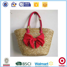 Factory supply fashion butterfly decorate straw beach women tote handbags